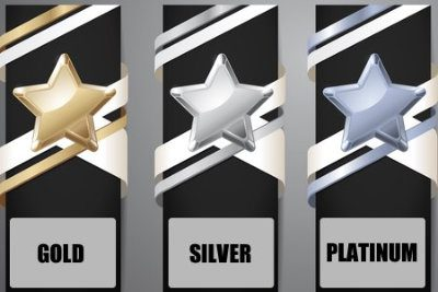Gold, silver and platinum star
