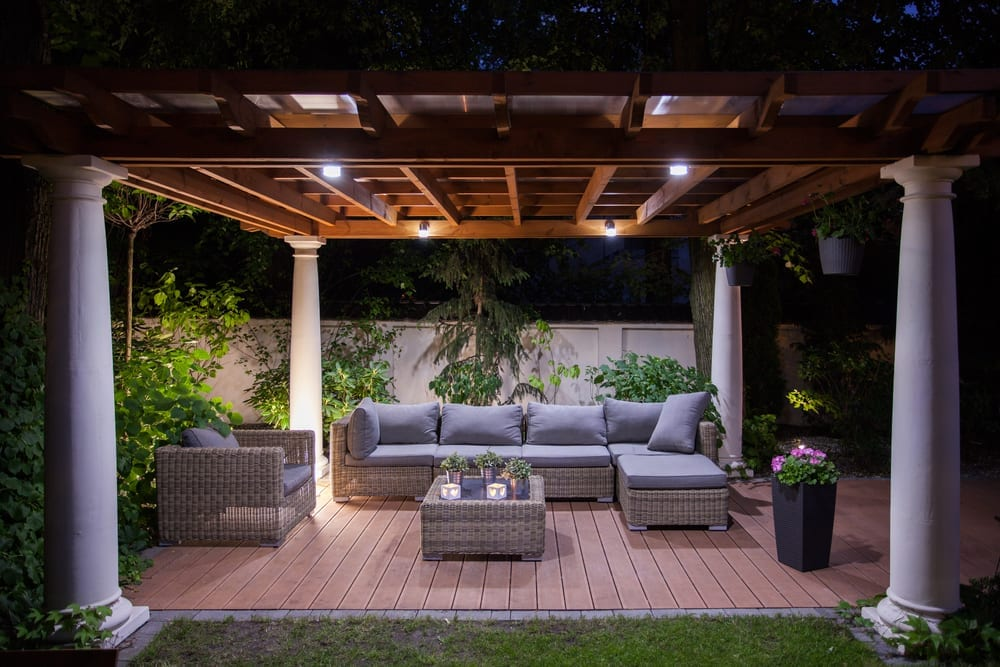 patio cover at night
