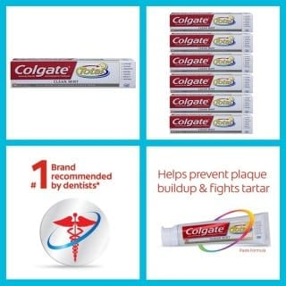 Colgate Total Fluoride Toothpaste, Clean Mint, 7.80 Oz ( Packs Of 6)